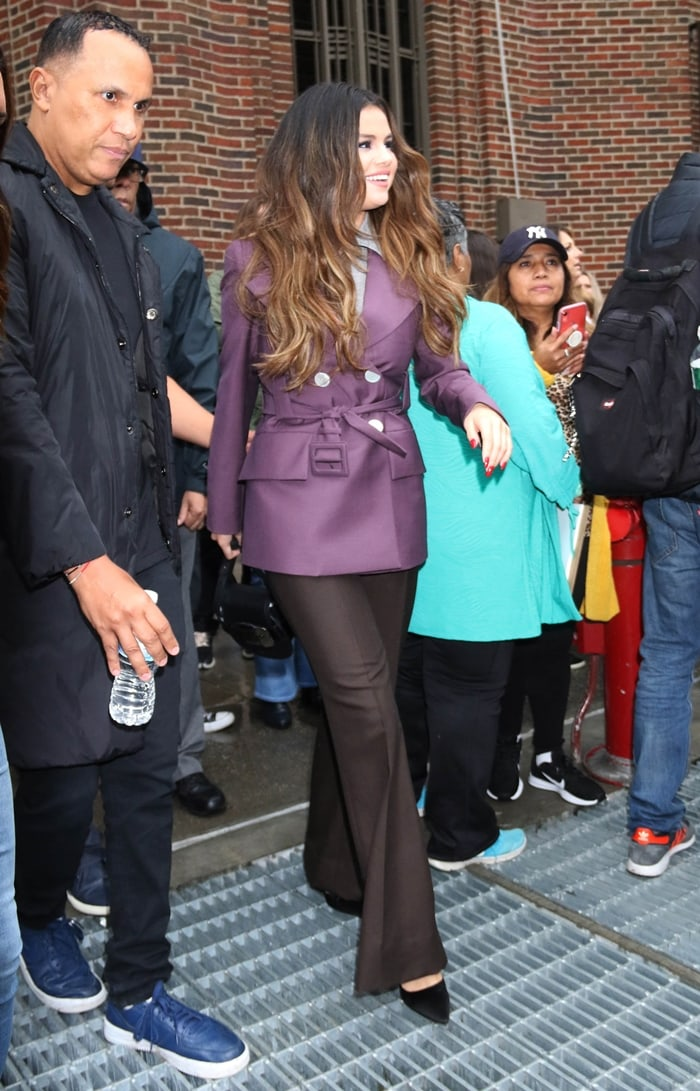 Selena Gomez meeting with some fans outside her hotel in New York City