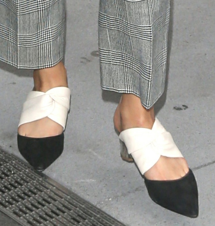 Selena Gomez pairs her gray plaid suit with Proenza Schouler mules