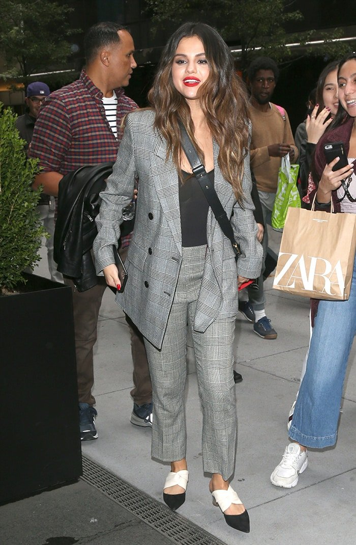 Selena Gomez does power dressing in plaid co-ords