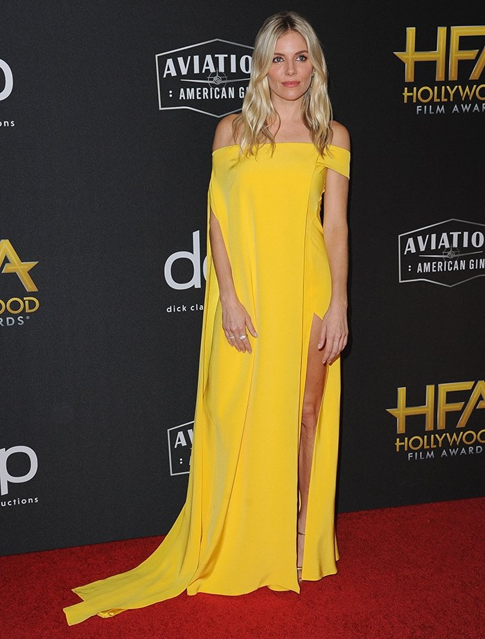 Sienna Miller is a ray of sunshine at the 23rd Annual Hollywood Film Awards held at the Beverly Hilton Hotel in California on November 3, 2019