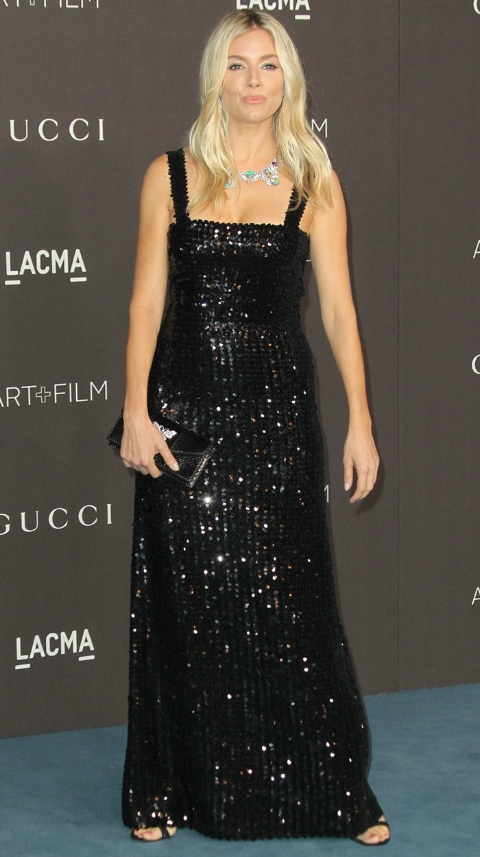 Sienna Miller donned a black Gucci gown to the 2019 LACMA Art + Film Gala