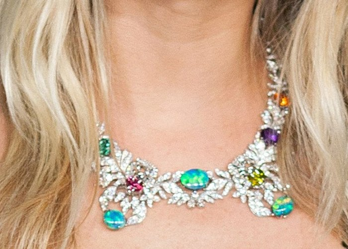 A close up of Sienna Miller's expensive Gucci necklace that's worth over $500,000