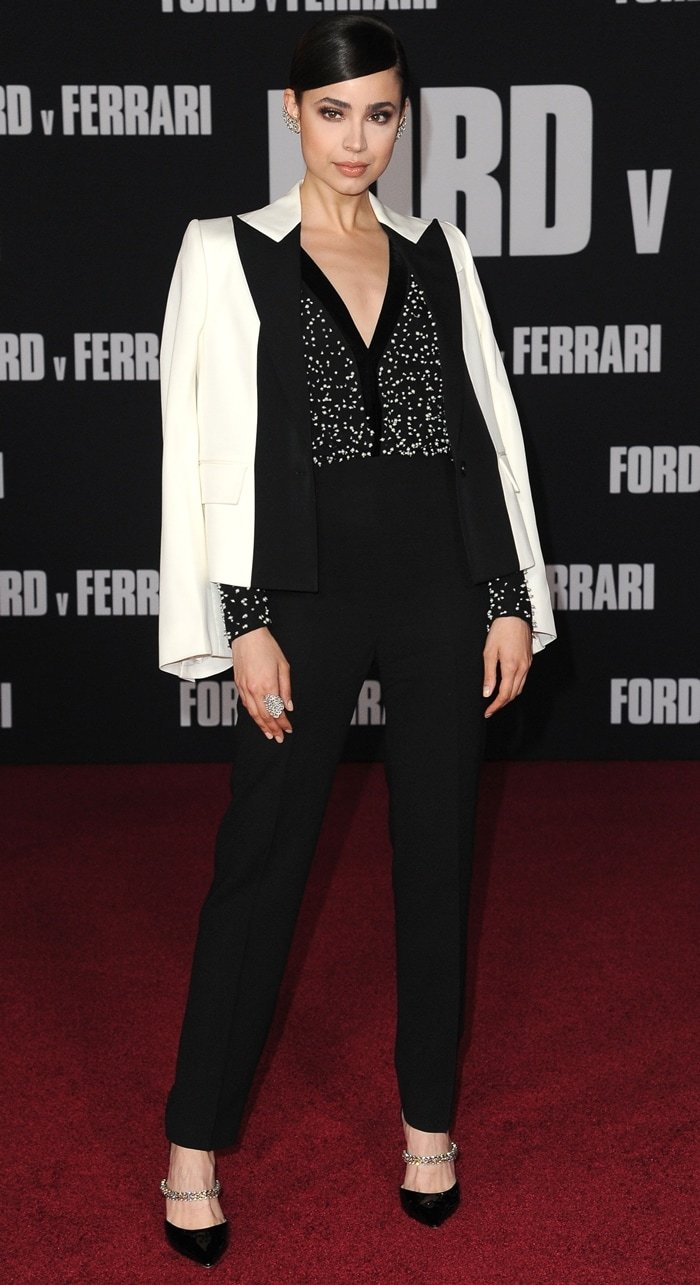 Sofia Carson wears a Givenchy look at the premiere of Ford v Ferrari