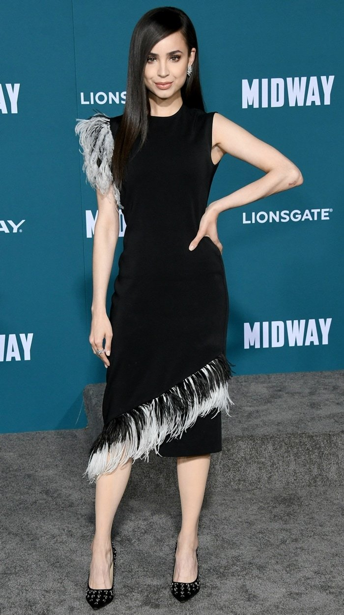 Sofia Carson rocked a Christopher Kane dress at the premiere of Midway