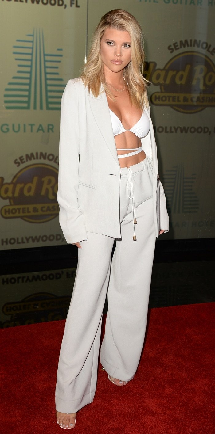 Sofia Richie walked the red carpet at the opening of the Guitar Hotel