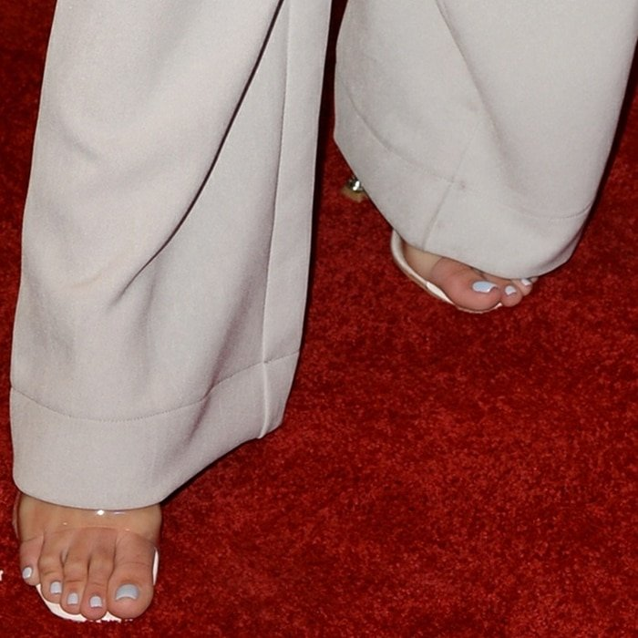 Sofia Richie shows off her sexy feet in Lila square toe perspex heel mules