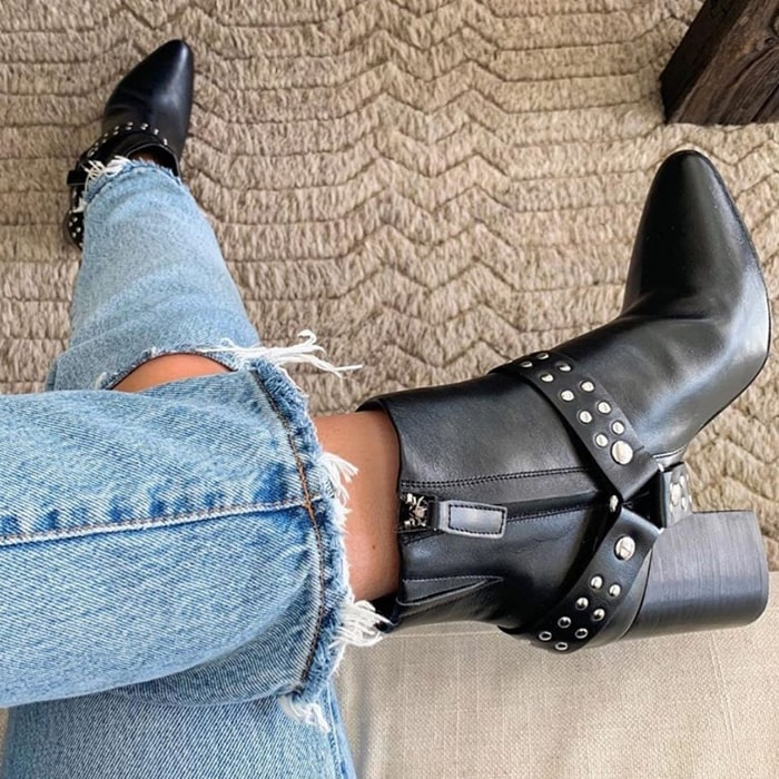 Black Studded Tegan Ankle Boots
