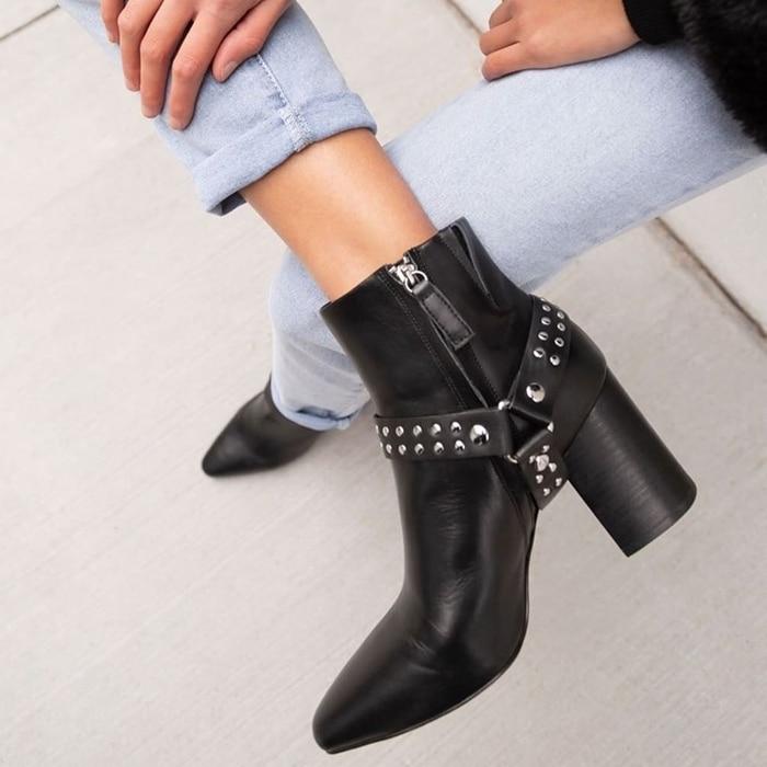 Sol Sana Black Studded Tegan Ankle Boots