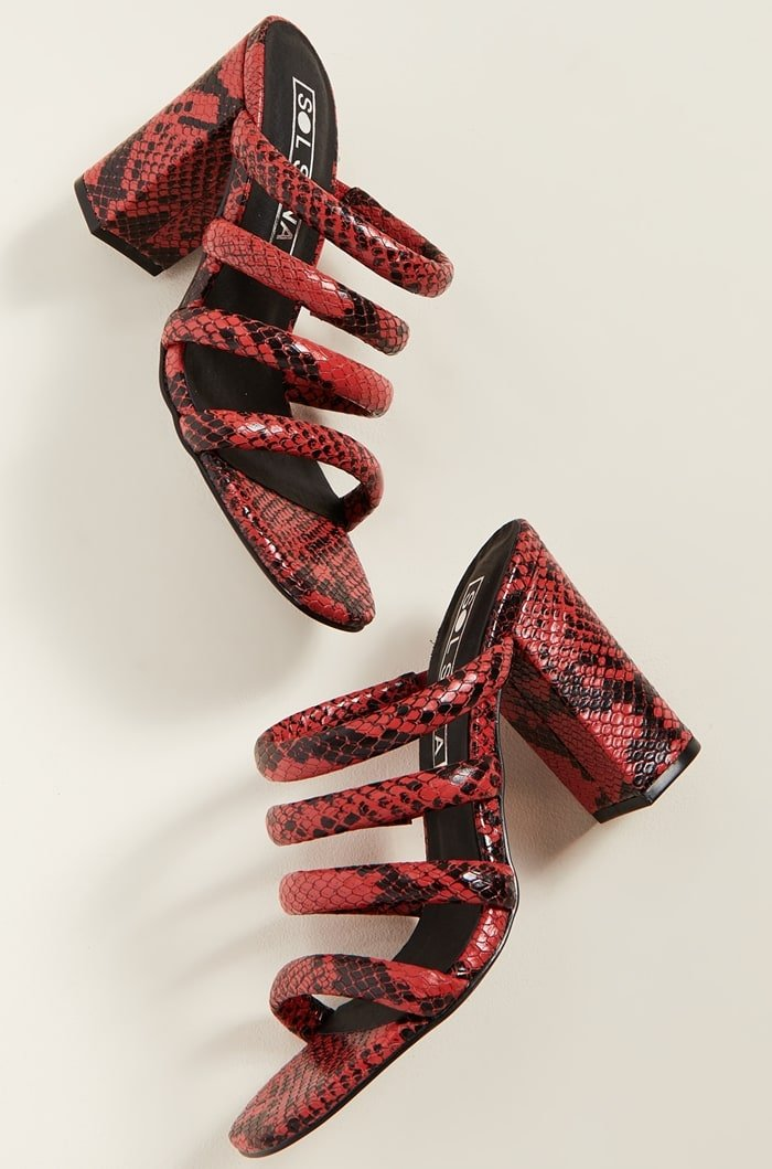 Red Snake Triple Strapped Judy Tubular Mules