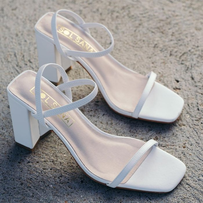 White Square Toe Lily Chunky Heels
