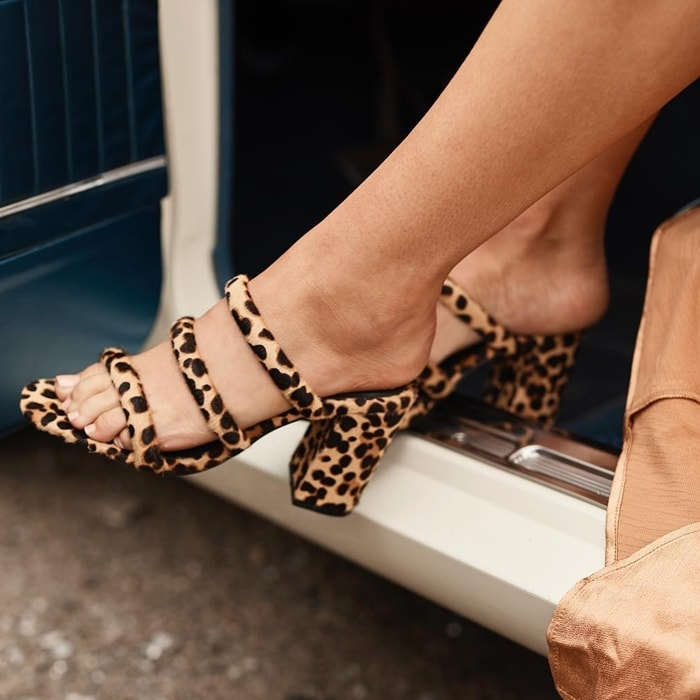 Leopard Sol Sana Triple Strapped Judy Mules