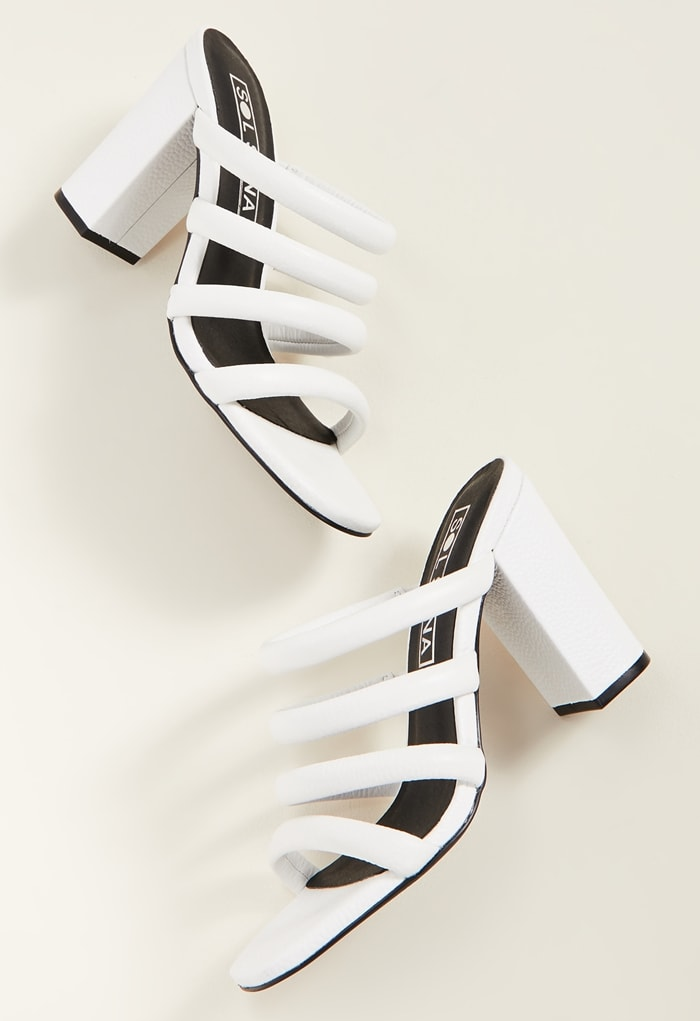White Triple Strapped Judy Tubular Mules