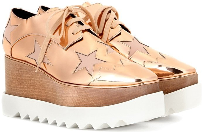 Masculine-inspired lace-ups are given the Stella McCartney touch with a sustainable wood platform and a saw-edge rubber sole