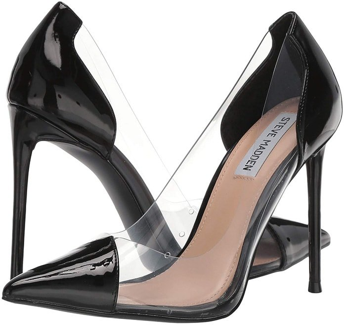 The Malibu pump crosses a towering stiletto heel with a transparent upper