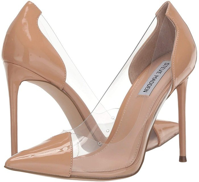 Polish your sexiest ensembles with this sleek pointed stiletto with a partially transparent upper