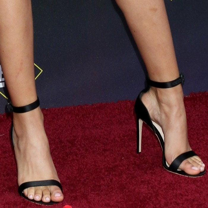 Storm Reid displayed her feet in Sophia Webster Nicole suede sandals