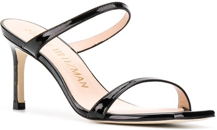 Stuart Weitzman's Aleena heeled sandals feature a slip-on open-toe silhouette