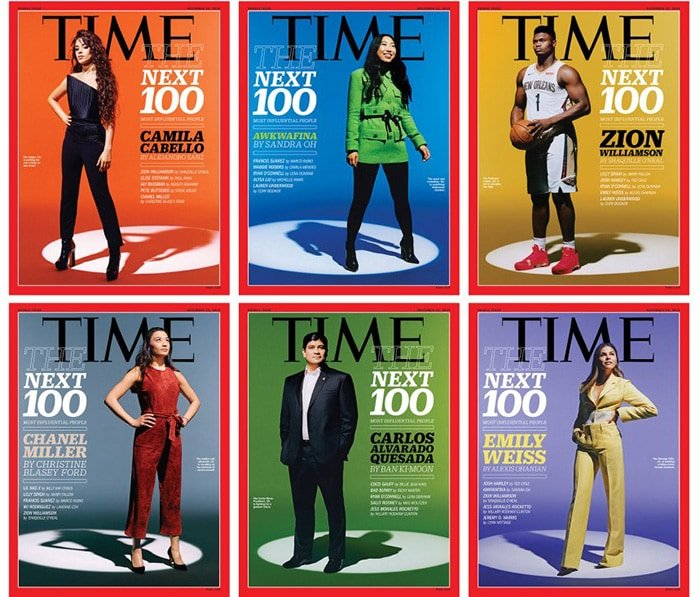 The six covers of Time Magazine's 100 Next first issue