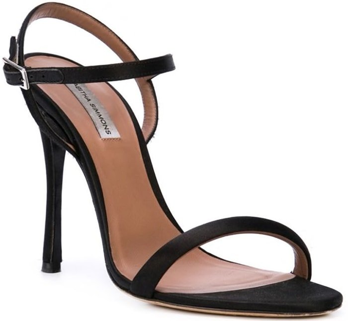 Eve sandals from Tabitha Simmons featuring an almond toe, a branded insole, a high stiletto heel and an ankle strap with a side buckle fastening