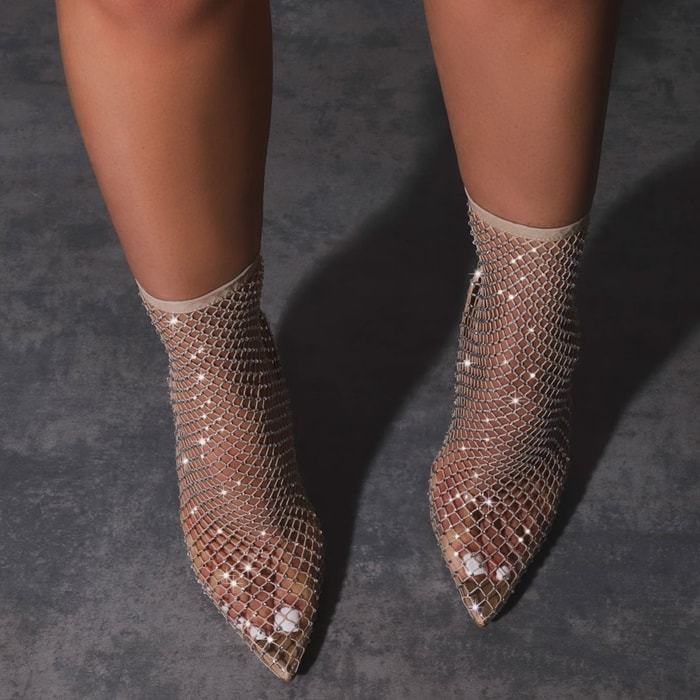 The nude Vakili pointed-toe stiletto heels feature an on-trend diamonte fishnet finish