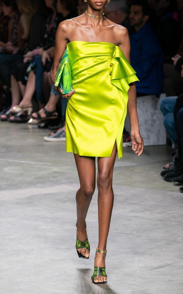 Versace Strapless Ruffle-Detailed Satin Dress