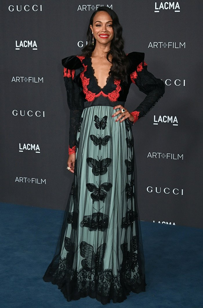 Zoe Saldana wears a quirky Gucci color-blocked lace dress