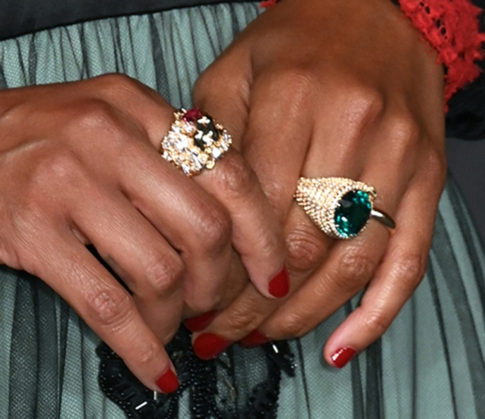 Zoe Saldana wears rings from Gucci's high jewelry collection