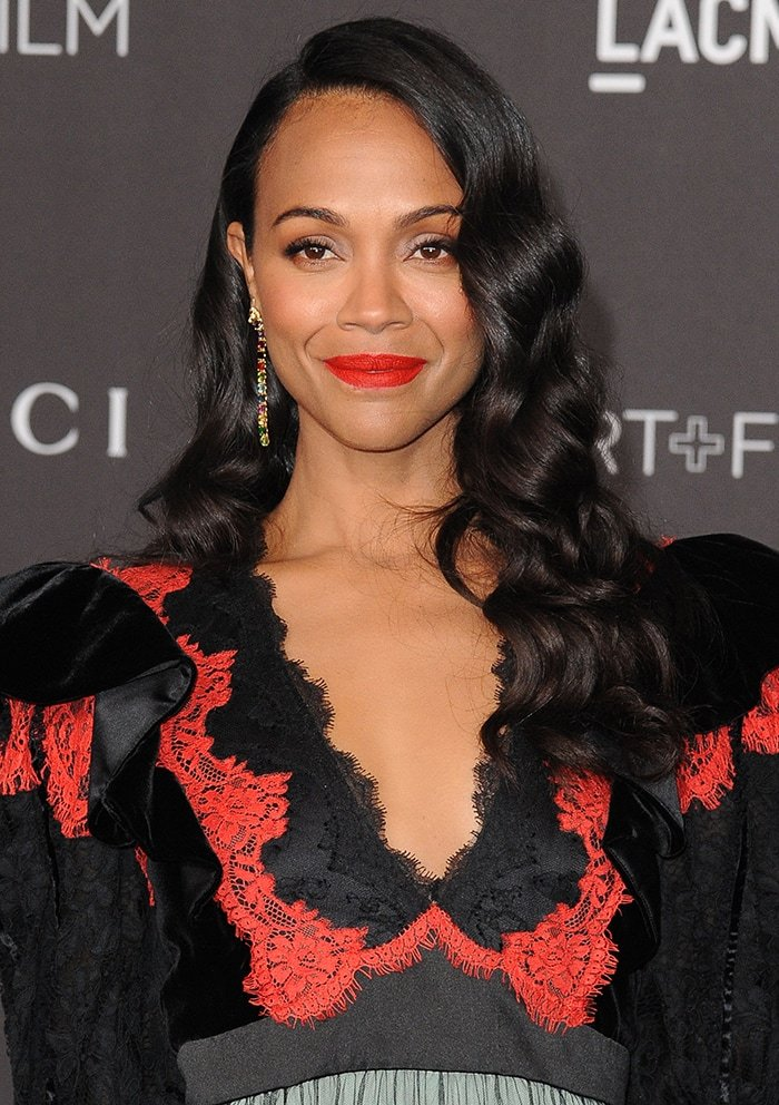 Zoe Saldana looks beautiful with her hair styled in romantic waves