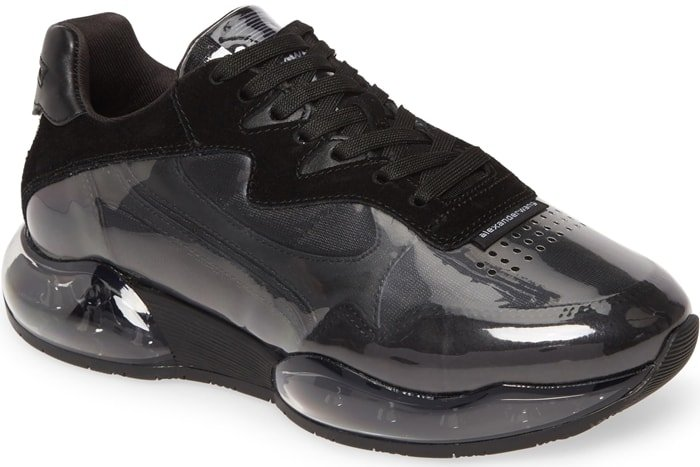 Alexander Wang's Stadium sneakers are constructed of clear PVC layered over black supple suede and mesh
