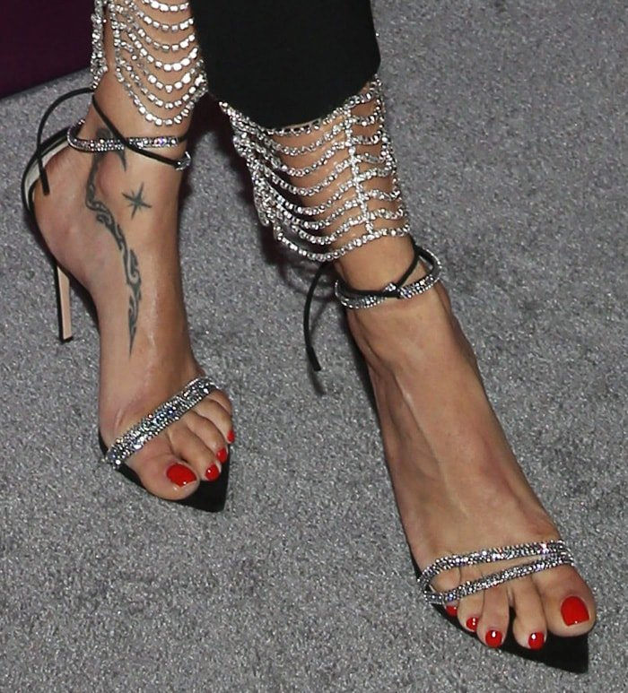 Adriana Lima shows off her foot tattoo in Gianvito Rossi Montecarlo sandals