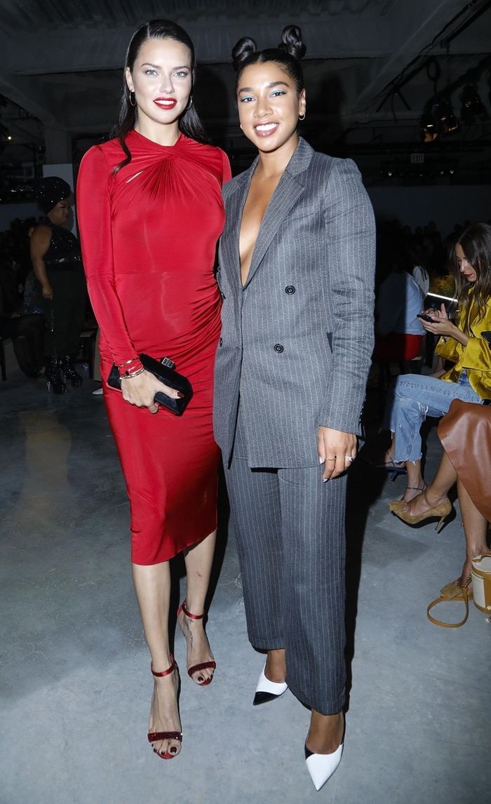 Adriana Lima and Beautified co-founder Hannah Bronfman at the Jason Wu Fashion Show