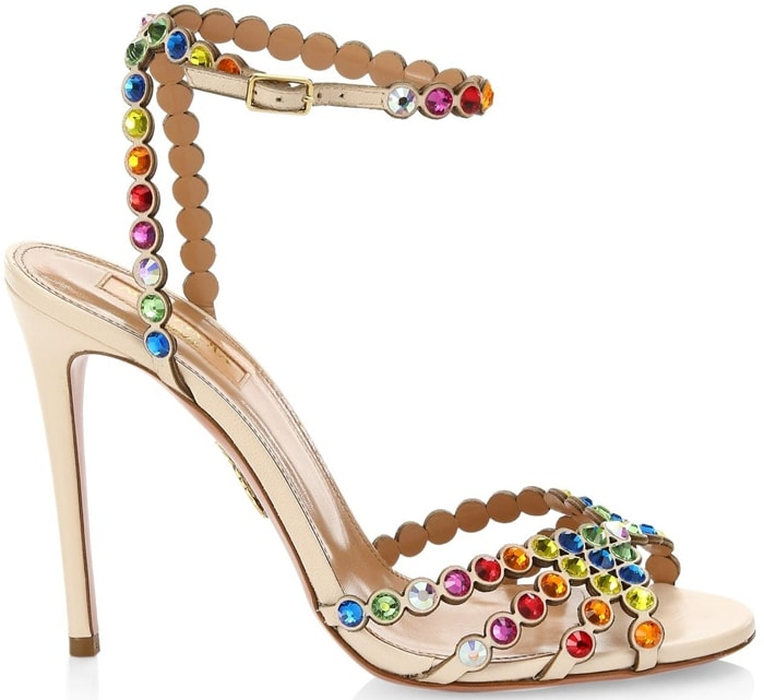 Dazzling rainbow crystals add shimmer to alluring leather stilettos