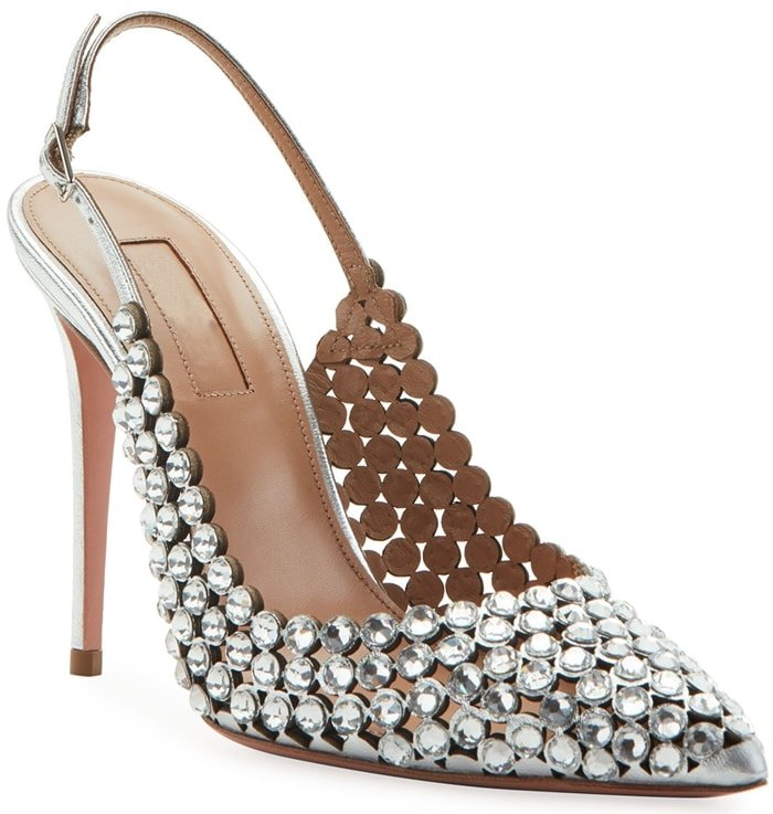 Silver Tequila Crystal-Embellished Leather Slingback Pumps