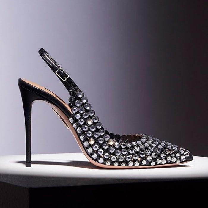 Black Tequila Crystal-Embellished Leather Slingback Pumps