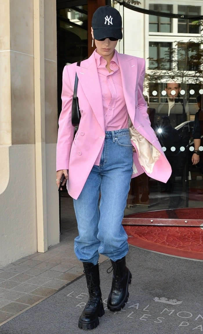 Bella Hadid wears Prada's Monolith chunky boots during Paris Fashion Week