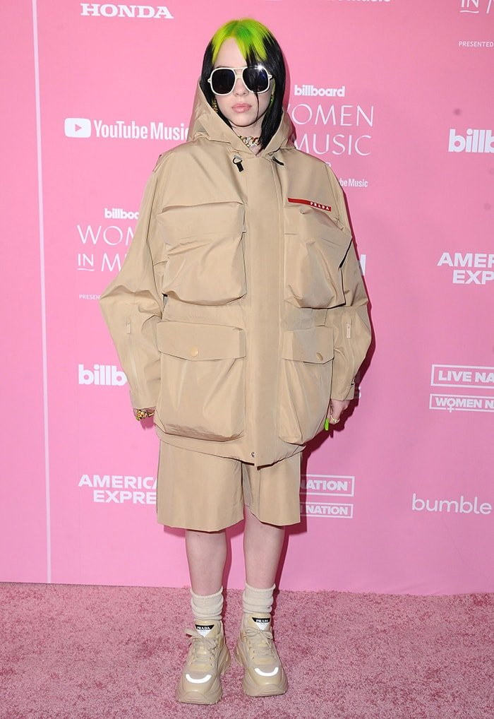 Billie Eilish in head-to-toe Prada at the 2019 Billboard Women in Music in Los Angeles on December 12, 2019