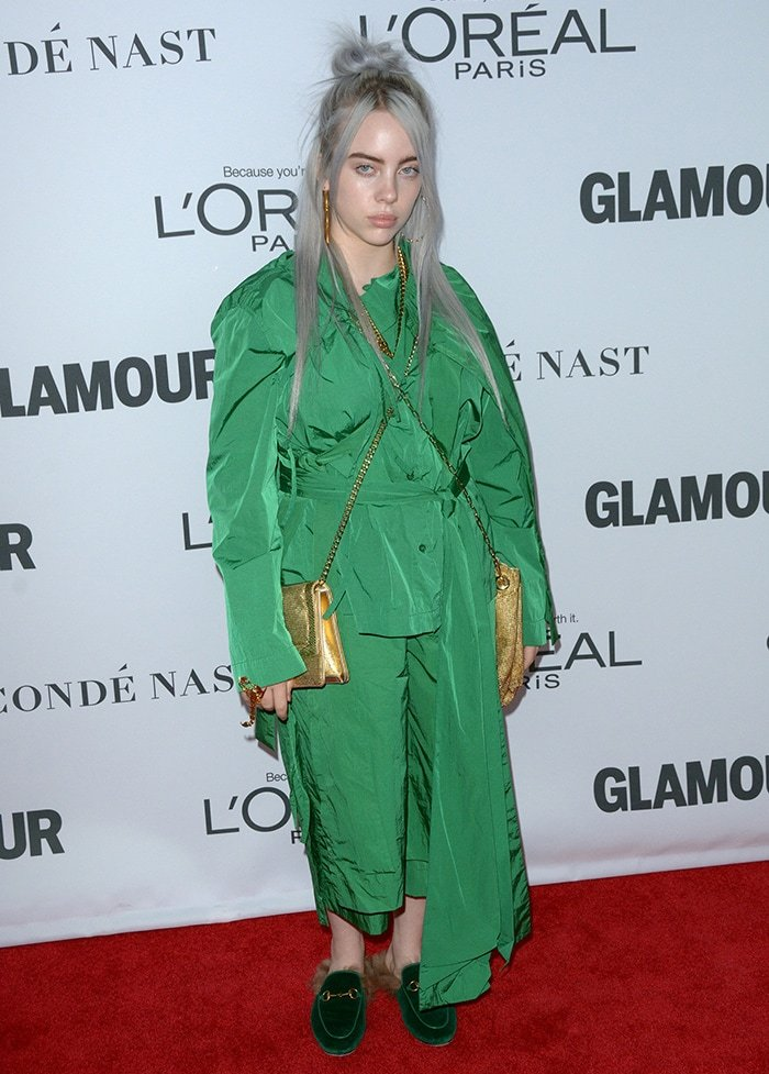 Billie Eilish in Craig Green outfit and Gucci slides at the 2017 Women Of The Year Awards on November 14, 2017