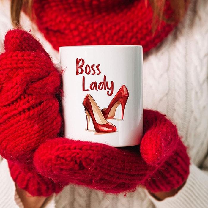 Boss Lady with Red High Heels Funny Coffee Mug