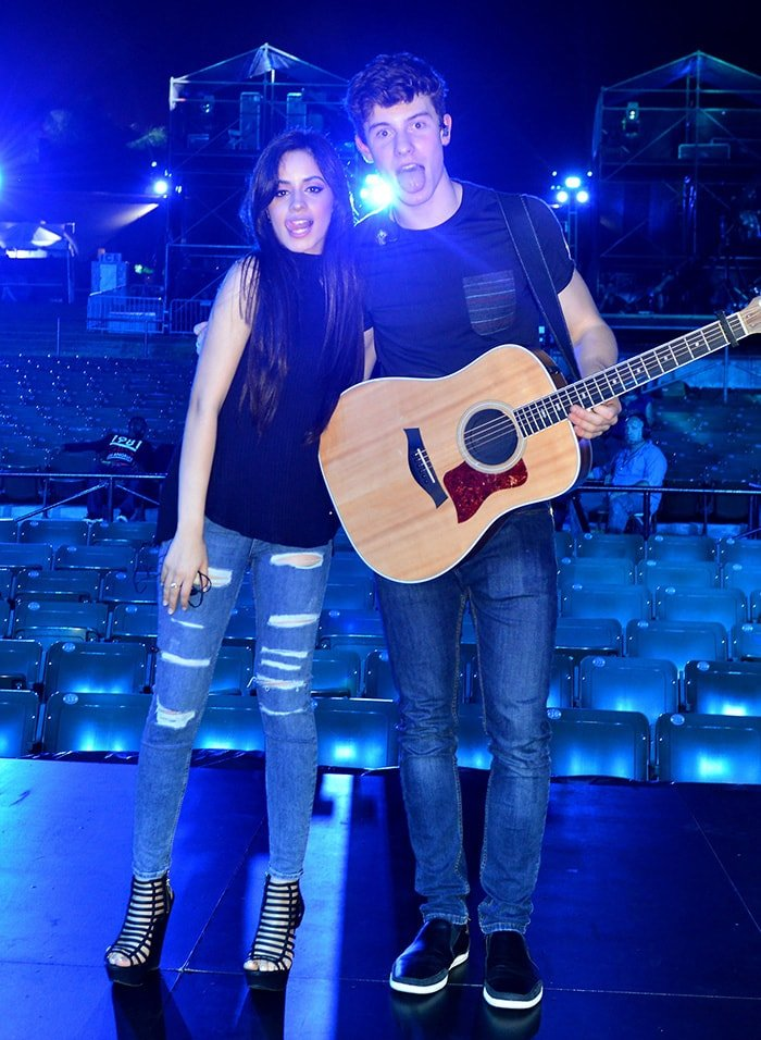 Camila Cabello and Shawn Mendes at Pitbull's New Year's Revolution Rehearsal at Bayfront Park in Miami on December 30, 2015
