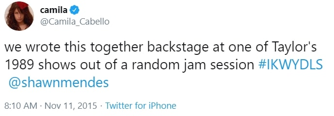 We wrote this together backstage at one of Taylor's 1989 shows out of a random jam session