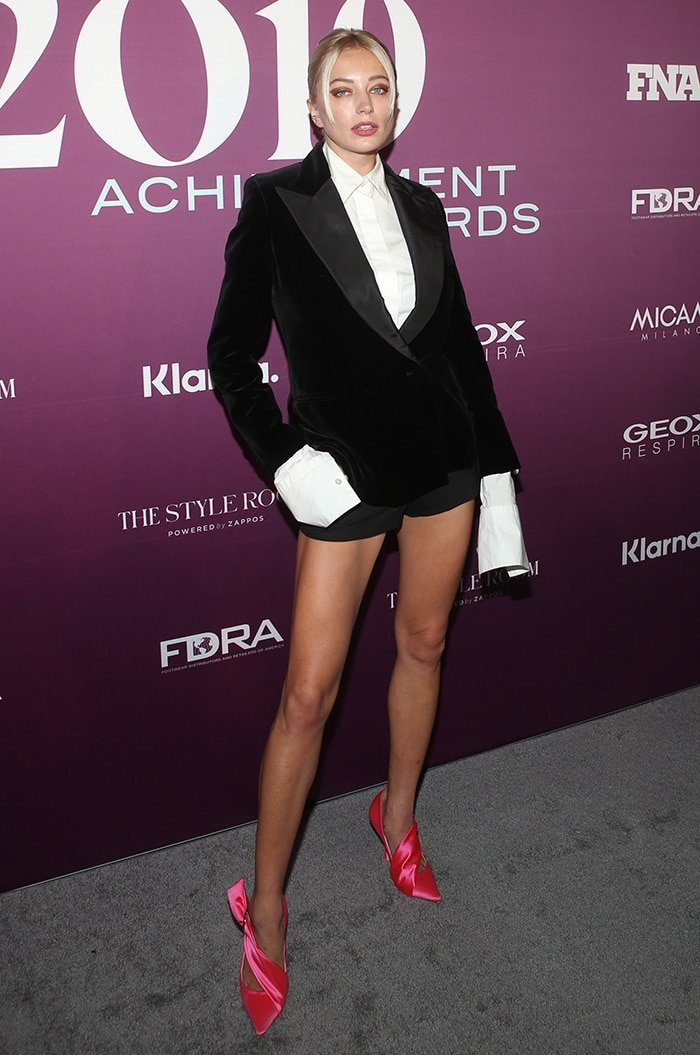 Caroline Vreeland opts for androgynous chic in tuxedo short
