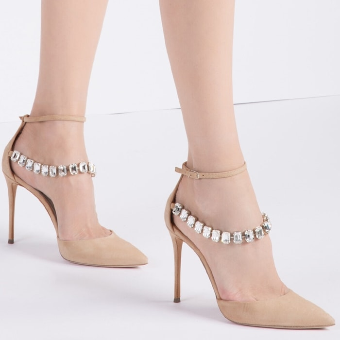 Neutral suede and leather Julia Lily Rose pumps from Casadei featuring a pointed toe, an ankle strap with a side buckle fastening, crystal embellishments and a high stiletto heel