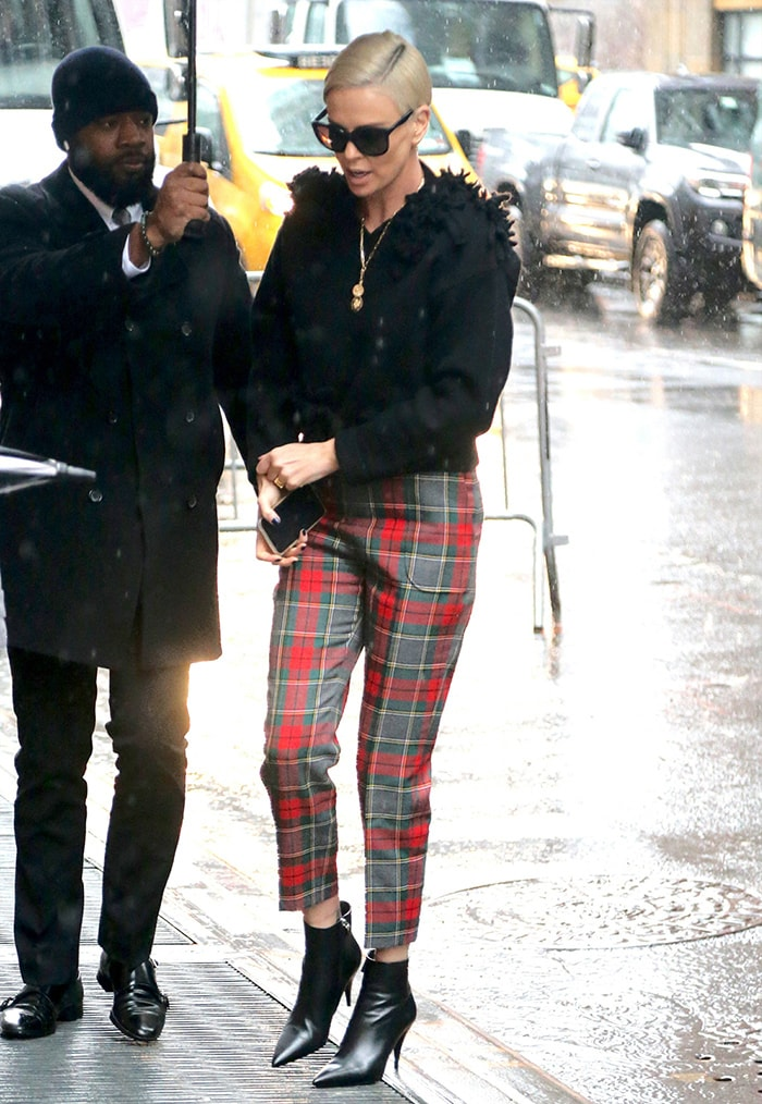Charlize Theron on her way to The View on December 17, 2019