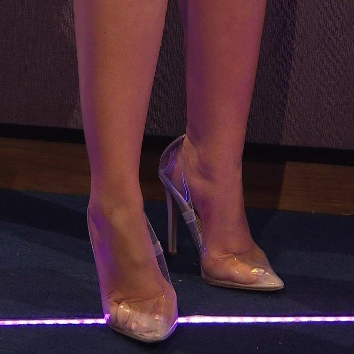 Sweaty Celebrity Feet in Clear Shoes
