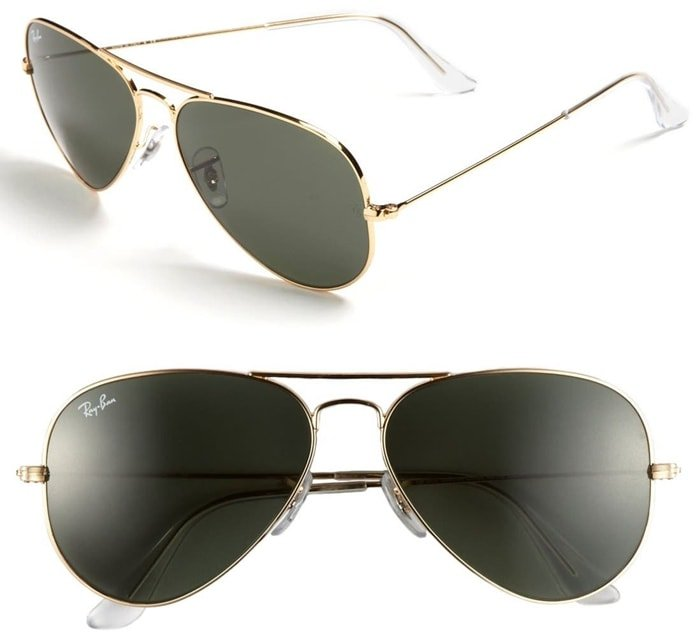 Classic Ray-Ban aviator sunglasses make a timeless and sophisticated style statement, while adjustable nose pads ensure custom comfort