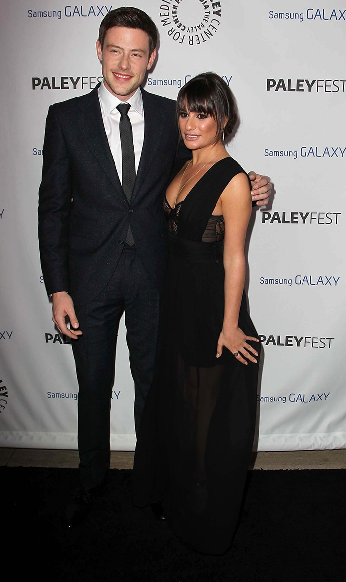 Cory Monteith and Lea Michele post together at The PaleyFest Icon Award on February 27, 2013 months before Cory's passing
