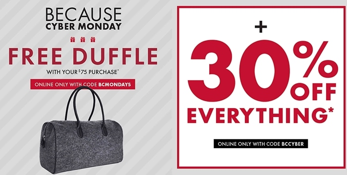 DSW Free Duffle Cyber Monday