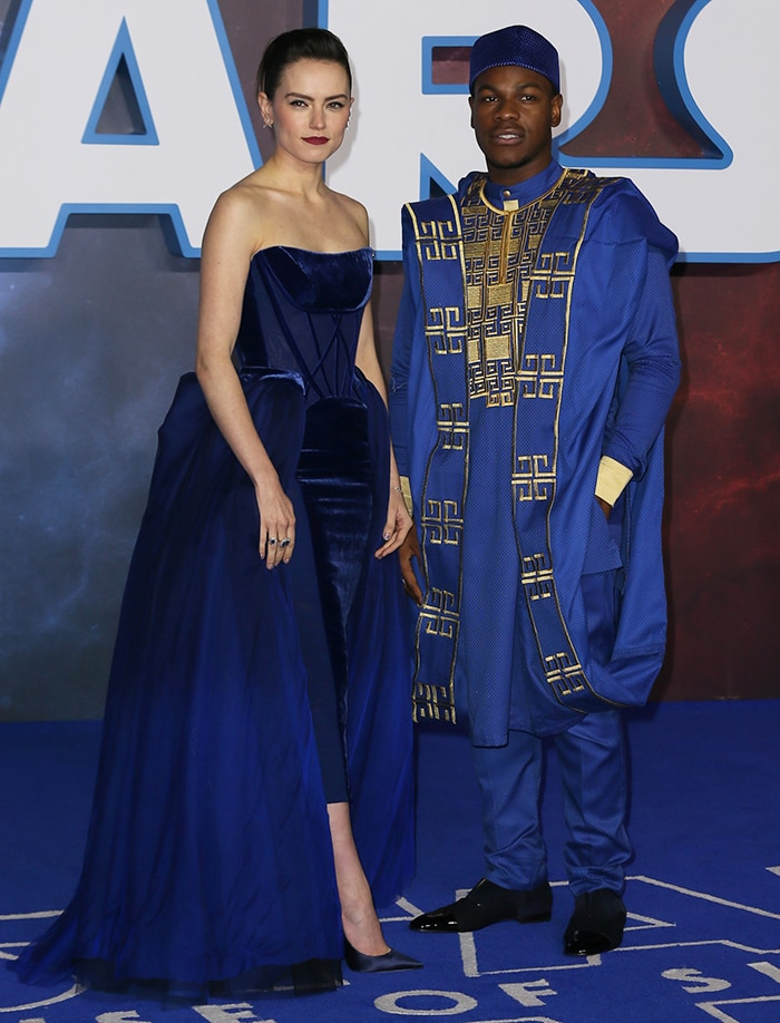 Daisy Ridley and John Boyega pose together at the London premiere of Star Wars: The Rise of Skywalker on December 18, 2019