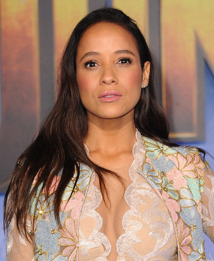 Dania Ramirez wears rose lipstick and blush with hair in loose waves