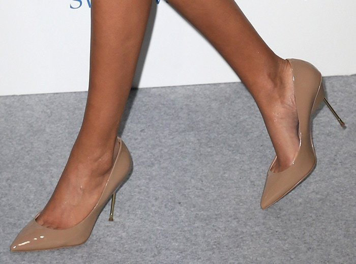 Ella Balinska shows off her pretty feet in nude Kurt Geiger pumps